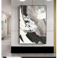 赞旭手绘黑白抽象简约油画大幅轻奢装饰挂画壁画