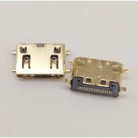 MINI HDMI19P C型母座贴片SMT全贴四脚沉板镀金