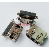 HDMI19P沉板母座反向90度插板 板上高3.75mm双排