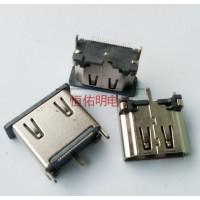 HDMI19P立式母座180度立贴高度13.0mm三脚直立式